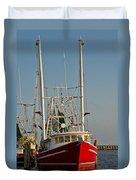 Red Shrimp Boat Duvet Cover