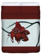 Red Silk Cotton Flower Duvet Cover