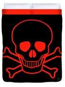Red Skull And Crossbones Duvet Cover