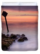 Red Sky Caution Duvet Cover by Mike  Dawson