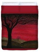Red Sky - Dark Hills Duvet Cover