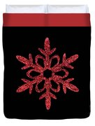 Red Snowflake Ornament Duvet Cover