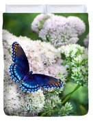 Red Spotted Purple Butterfly On Sedum Duvet Cover