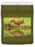 Red Squirrel Reflection Duvet Cover