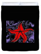 Red Starfish In Stormy Seas Duvet Cover