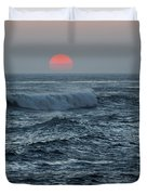 Red Sun With Wave Duvet Cover
