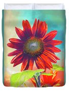 Red Sunflowers At Sundown Duvet Cover