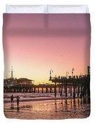 Red Sunset In Santa Monica Duvet Cover