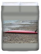 Red Surf Board On A Rocky Beach Duvet Cover