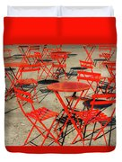 Red Tables And Chairs Duvet Cover