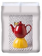 Red Teapot With Butterfly Duvet Cover