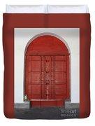 Red Temple Door Duvet Cover