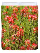 Red Texas Wildflowers Duvet Cover