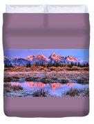 Red Tip Teton Reflection Panorama Duvet Cover
