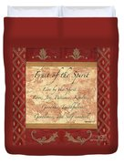Red Traditional Fruit Of The Spirit Duvet Cover by Debbie DeWitt