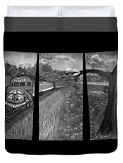 Red Train Passage In Black And White Duvet Cover
