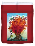 Red Tree And Friends Duvet Cover