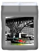 Red Tug On Cuyahoga River Duvet Cover