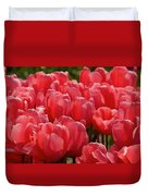 Red Tulip Buds Crest The Earth Duvet Cover