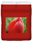 Red Tulip Flower Macro Artwork 16 Floral Flowers Art Prints Spring Dew Drops Nature Art Duvet Cover