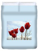 Red Tulip Flowers Spring Artwork Baslee Troutman Duvet Cover