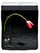 Red Tulip On Black Duvet Cover