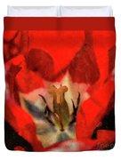 Red Tulip Texture Duvet Cover