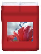 Red Tulips Flowers Art Prints Spring Tulip Garden White Clouds Baslee Troutman Duvet Cover