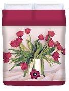 Red Tulips In Full Bloom Duvet Cover