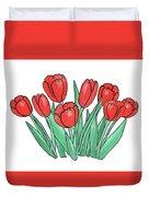 Red Tulips  Duvet Cover