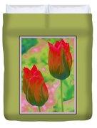 Red Tulips Pop Art Duvet Cover