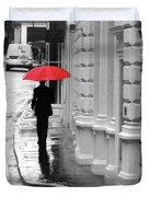 Red Umbrella In London Duvet Cover