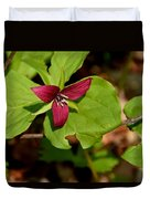 Red Upright Trillium Duvet Cover