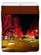 Red Urban Trees Duvet Cover