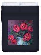 Red Velvet Tulips Duvet Cover