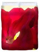 Red Velvet Twin Geraniums  Duvet Cover by Shelli Fitzpatrick