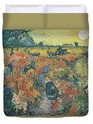Red Vineyards At Arles Duvet Cover