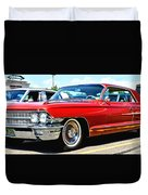 Red Vintage Cadillac Duvet Cover