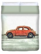Red Vw Beetle Bug Pencil Duvet Cover