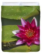 Red Water Lily Duvet Cover