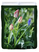Red White Tulips Duvet Cover