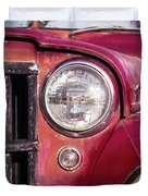 Red Willys Jeep Truck Duvet Cover