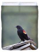 Male Red Wing Black Bird Duvet Cover