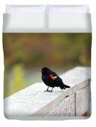 Red Winged Blackbird Duvet Cover