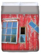Red Wood And Windows Duvet Cover