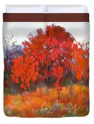 Red Woods Painting Duvet Cover