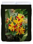 Red Yellow Orchids Duvet Cover