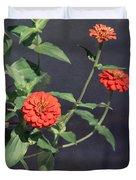 Red Zinnia Flowers Duvet Cover