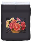 Red Zinnias Duvet Cover