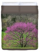 Redbud And Field In Jefferson County Duvet Cover
